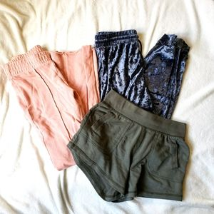 Leisure pant short set XS wild fable pink green